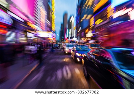 picture with creative zoom effect of a crowded street scene in downtown Manhattan, New York City - stock photo