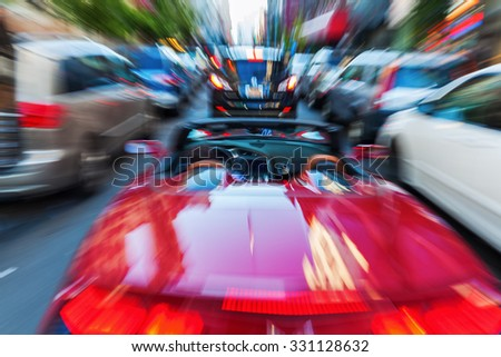 picture with creative zoom effect of a traffic scene in the city - stock photo