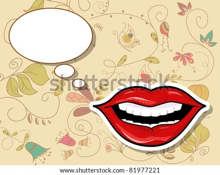 Picture with lips and speach bubbles - stock photo