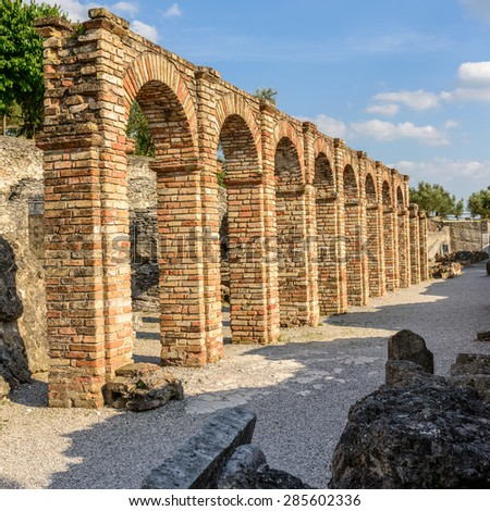 pictured a Caves of Catullo's or Grotte di Catullo a ruins of Roman house 1 century AC. - stock photo