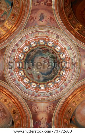Pictured dome on the inside Cathedral of Christ the Saviour in Moscow, Russia - stock photo