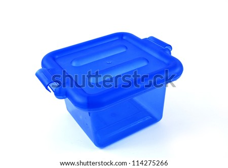 pictures of a blue plastic bin over a white background - stock photo