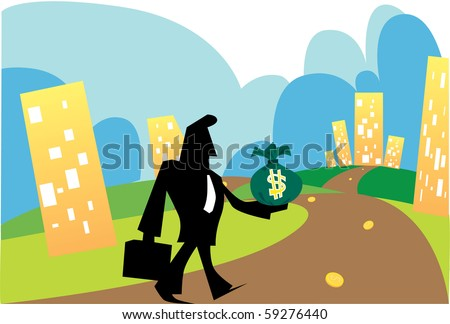 Pictures of men walking on the path of business and success. - stock photo