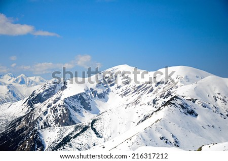 pictures of mountains in the winter scenery - stock photo