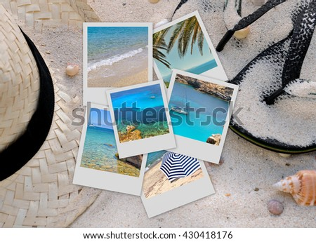 pictures of sea and beach on sand background with straw hat and sandals