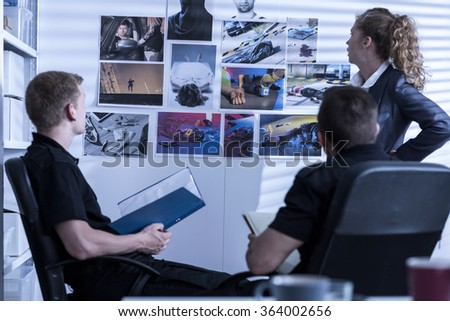 Pictures of the crime on the wall - stock photo