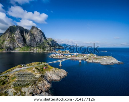 Picturesque aerial view of village Hamnoya on Lofoten islands in Norway - stock photo