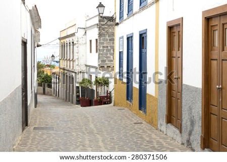 Picturesque alley in a village on Gomera island, Spain - stock photo