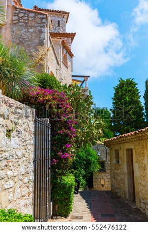 picturesque alley in the famous mountain village Eze, France