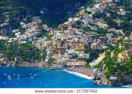 picturesque Amalfi coast of Italy - Positano - stock photo