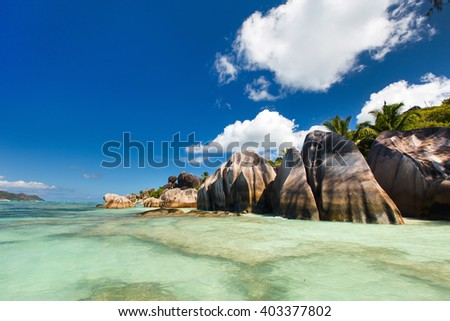 Picturesque Anse Source d'Argent beach on tropical La Digue island in Seychelles