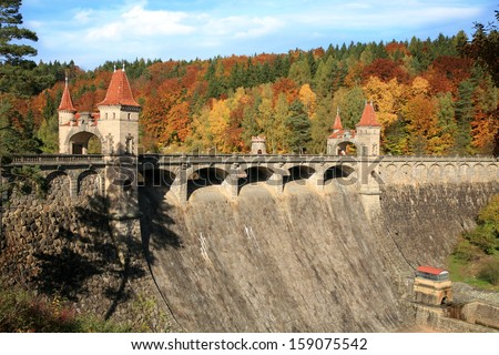 Picturesque autumn. Historic dam Les Kralovstvi in Bila Tremesna, one of the oldest in the Czech Republic.