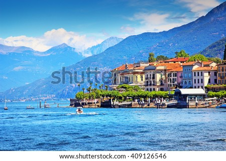 Picturesque Bellagio town and Como lake in summer, Italy. - stock photo