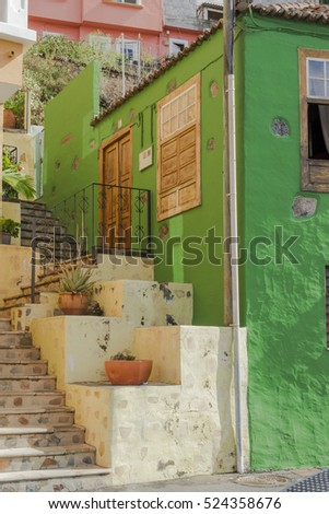 Picturesque building with stairs in Tazacorte, La Palma