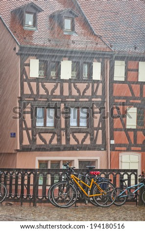 Picturesque city view during the summer rain. Colmar city, Alsace region, France