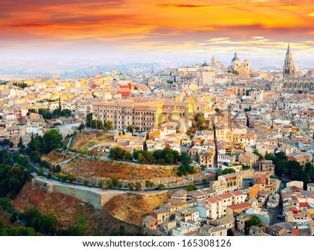 Picturesque dawn view of Toledo.  La Mancha, Spain - stock photo