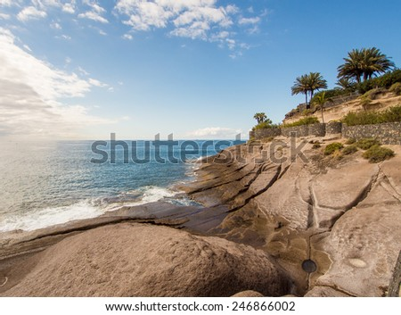 Picturesque El Duque beach in Tenerife. Canary islands, Spain