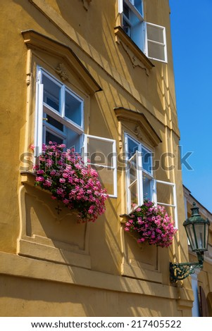 picturesque facade of an old house in the old town of Prague, Czechia - stock photo