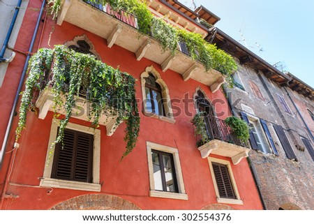 Picturesque facede,shutters and alleys in northern italy, near lago di Garda, largest Italian lake,North Italy - stock photo