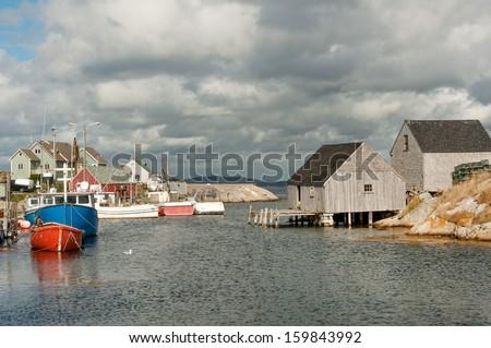 Picturesque fisherman village of Peggy's Cove in Nova Scotia - stock photo