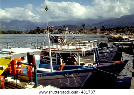 Picturesque Harbor in Parati, Brazil - stock photo