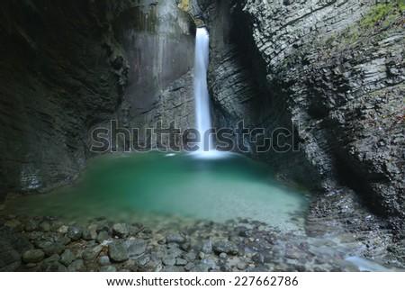 Picturesque Kozjak waterfall, Triglav national park, Slovenia - stock photo