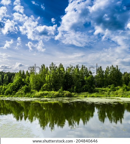 picturesque lake  - stock photo