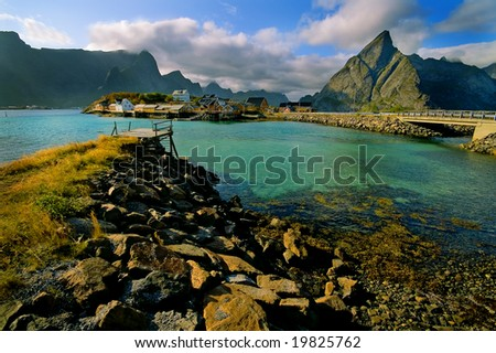 Picturesque landscape of the fjord over high mountains - stock photo