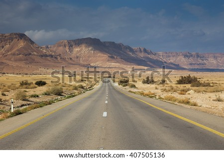 Picturesque landscape scene above road