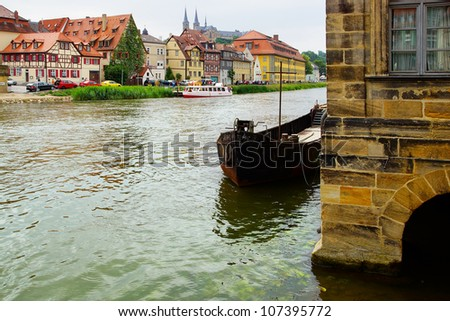 Picturesque landscape with Bamberg Bavaria - stock photo