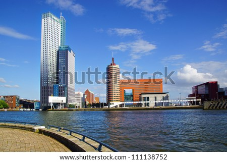 Picturesque landscape with modern architecture in Rotterdam - stock photo