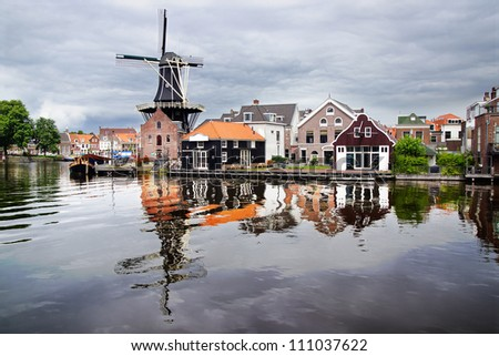 Picturesque landscape with windmill. Haarlem, Holland - stock photo