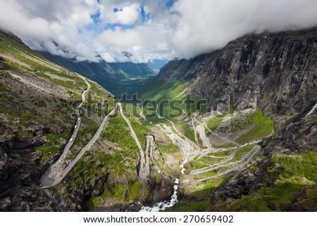 Picturesque lanscape of Trollstigen road in Norway - stock photo