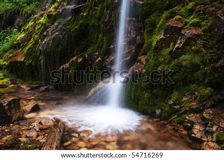 Picturesque little waterfall in Tyan-Shan mountains,Kazakhstan