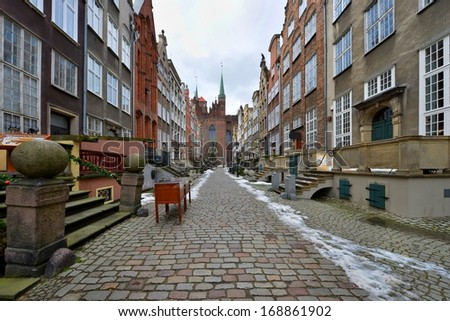 Picturesque Mariacka Street in the Old Town of Gdansk, Poland - stock photo