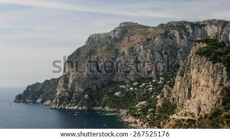 Picturesque Marina Piccola on Capri island in Italy - stock photo