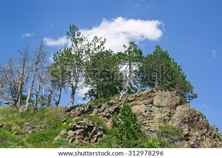 Picturesque mountain landscape. White clouds on blue sky.