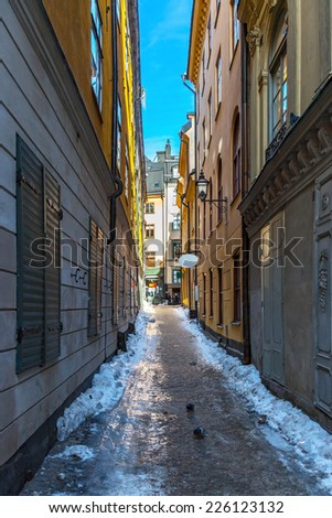 Picturesque narrow street in Old Town in Stockholm, Sweden - stock photo