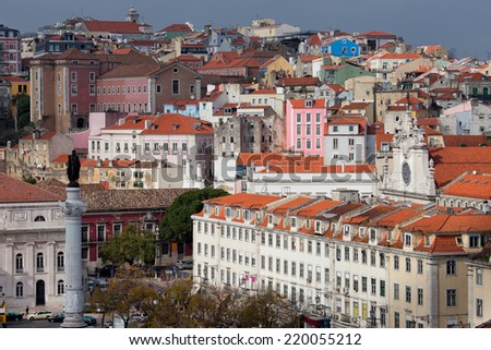 Picturesque old city of Lisbon in Portugal. - stock photo