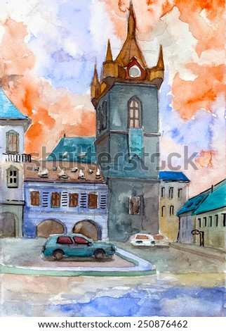 Picturesque old czech towers european cityscape watercolor painting oil acrylic illustration hand drawn impressiolnism poster background
