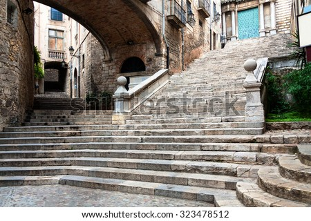 Picturesque old Jewish quarter, Girona, Catalonia, Spain, Europe - stock photo