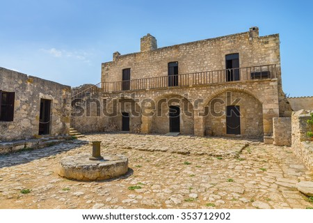 Picturesque old Monastery of Saint John Theologian in Ancient Aptera town at Crete island. Beautiful architectural landscape .District of Chania. Greece. Europe. - stock photo