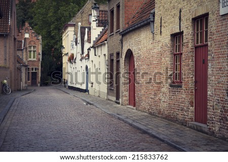 Picturesque old street in Brugge (Bruges) - stock photo