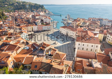 Picturesque old town Piran - beautiful Slovenian adriatic coast. Aerial view of Tartini Square. - stock photo