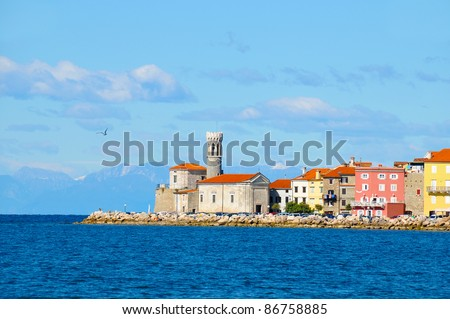 Picturesque old town Piran - Slovenian coast - stock photo