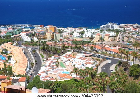 picturesque outstanding landscape of beautiful resort playa de las americas on tenerife, canary islands, spain