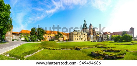 Picturesque panoramic view of Wawel Royal Castle complex in Krakow, Poland. It is the most historically and culturally important site in Poland