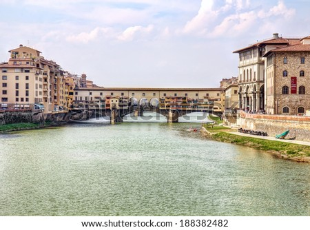 Picturesque Ponte Vecchio bridge in Florence old town in Tuscany, Italy. - stock photo
