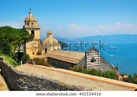 picturesque Portovenere overlooking the church - stock photo