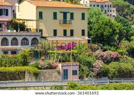 Picturesque residential houses on the hill on Elba Island, Marciana, Italy - stock photo
